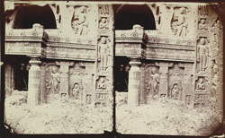 Close view of lower right side of the façade of Buddhist chaitya hall, Cave XIX, Ajanta